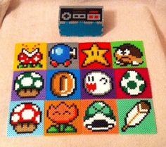 Mario Achterbahn-Set mit Nintendo Controller Holder Komplettes-Set kommt mit 12 Untersetzer und ein Halter Komplett mit Perler/Hama Perlen gemacht Bierdeckel können auch getrennt erworben werden