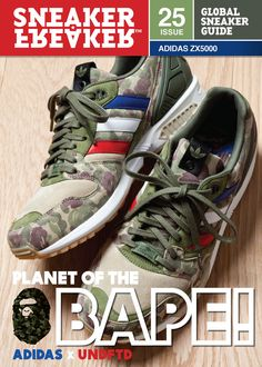 BAPE x UNDFTD x adidas on the Cover of Sneaker Freaker Issue Sneaker Freaker has just taken the wraps off the cover of the latest issue and it features a brand Adidas Zx, Bape, New Sneakers, Casual Sneakers, Adidas Sneakers, Addias Shoes, Adidas Shoes Outlet, Nike Windbreaker, A Bathing Ape