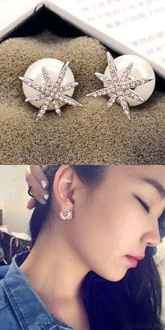 Fashion 925 Silver Zircon Star Pearl Ball Women Earrings Studs for big sale! #silver #zircon #star #pearl #women #earrings #studs #fashion