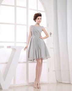 osell wholesale dropship Sabrina Neckline Sleeveless Thigh Length Pleated Chiffon Woman Little Black Dress $49.42