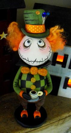 OOAk Grimmy the Mad Hatter art doll by SpookyHollow on Etsy, $125.00