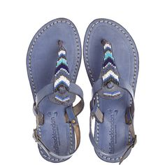 LAID BACK LONDON Lucus Artisan Beaded Leather Sandal ($95) ❤ liked on Polyvore featuring shoes, sandals, blue cc, leather ankle strap sandals, ankle wrap sandals, blue leather shoes, leather shoes and leather thong sandals