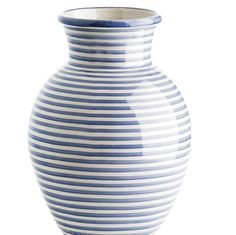 Tine K Home Hand Painted Blue Vase: Hand Painted blue and white striped vase designed by Tine K Home in Denmark. These large vases make a beautiful gift or stunning display piece with or without flowers.