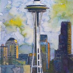 Seattle Washington Fine Art Print Watercolor by JadeDumpling, $14.95