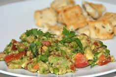 Guacamole met edamame, koriander, gember, sesamolie en sojasaus. Hoe fantastisch?!