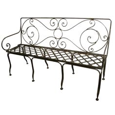 French Steel 5 ft. Bench | From a unique collection of antique and modern benches at http://www.1stdibs.com/furniture/seating/benches/