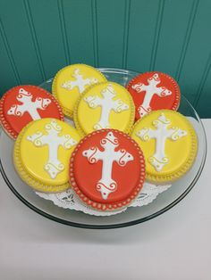 Baptism, 1st Communion, Christening  Cross Cookies Cross Cookies, Communion, Christening, Cupcakes, Sugar, Desserts, Spring, Food, Tailgate Desserts