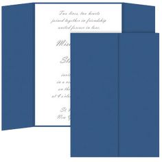 Gate Fold Colors Matt Royal Blue is an invitation wrap made using thick card stock. Gate Folds are delivered open and pre-scored for easy folding.Invitation Insert card recommendation is 4 x 6 or smaller (not included). Scrapbook Supplies, Scrapbooking, Royal Blue, Bar Chart, Gate, Card Stock, Wedding Invitations, Cards, Colors