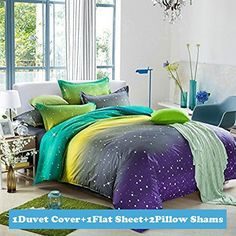Isn't this one of the most dreamy unique bedding sets you have ever seen.  This takes me back to a paradise only imaginable in the bedroom of my dreams. Ttmall Twin Full Queen Size Cotton 4-pieces Fluorescence Green Yellow Gray Lavender White Polka