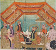 Darbar scene:Aurangzeb holds court, as painted by (perhaps) Bichitr.from http://www.columbia.edu/itc/mealac/pritchett/00routesdata/1600_1699/aurangzeb/darbarscene/darbarscene.html