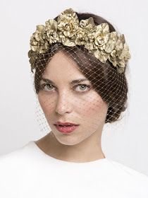 Crowns for wedding hairstyles!  Great design. But instead of gold flowers and a birdcage veil, I could see similar real flowers all around the front with a lacey traditional veil.