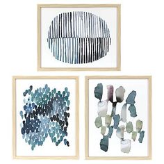 Framed Watercolor Blue Abstracts 16 x 20 3-Pack - Threshold™