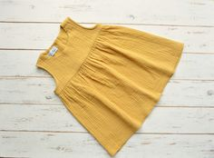 Girls Muslin Sleeveless Dress Cotton Yellow by LillyRose2008 on Etsy