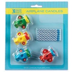 Airplane Candle Holders with Candles @Kayla Everhart Maier thought these were cute!