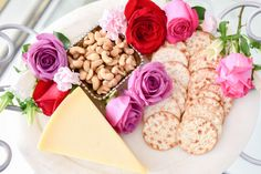 Floral Cheese Board for Valentine's Day