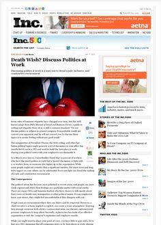 Death Wish? Discuss Politics at Work | Inc.com - Rise Interactive