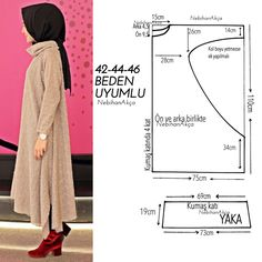 Fashion Sewing Clothing Accessory Design Hijab DIY Kombin Hijab Fashion … - Ideas For Diy Sewing Dress, Dress Sewing Patterns, Blouse Patterns, Clothing Patterns, Moda Hijab, Hijab Mode, Kaftan Pattern, Sewing Blouses, Mama Baby