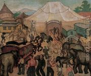 Circus c 1930 by Geza Bornemisza - Reproduction Oil Painting Most Famous Paintings, Paintings For Sale, Oil Painting On Canvas, Painting Frames, Oil Painting Reproductions, Animal Paintings, Artist At Work, Giraffe, Art Gallery