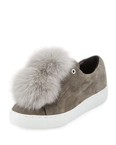 Heather+Fur+Pompom+Sneaker,+Gray+by+Here/Now+at+Bergdorf+Goodman.