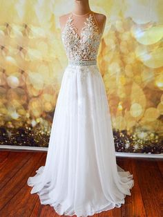 White Chiffon Tulle Appliques Lace Sweep Train Sexy Open Back Prom Dresses