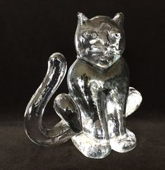 cat Kosta Boda glass cat figurine paperweight by arSFhomedecor