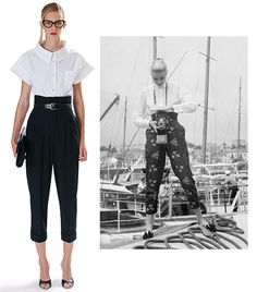 """""""A boxy shirt tucked into trousers belted high on the waist recall Grace Kelly during the 1955 Cannes Film Festival."""""""