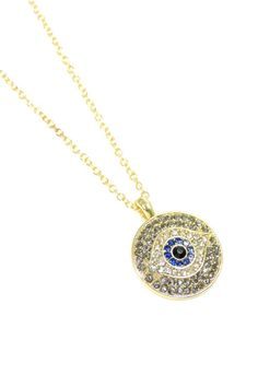 Round Evil Eye Pendant Gold Necklace