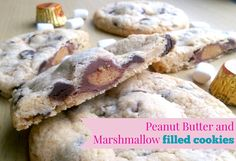 Peanut Butter and Marshmallow Cookies, gooey and delicious! Substitute with any of your favourite chocolates to make your own creation! Marshmallow Cookies, Filled Cookies, Cake Business, Chocolates, Peanut Butter, Bakery, Desserts, Life, Food