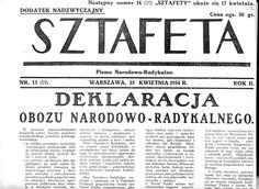 Sztafeta - deklaracja ONR, 1934