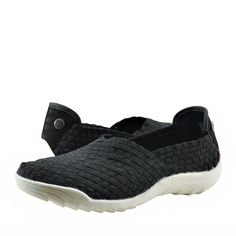 Women's Shoes Bernie Mev. Rigged Fly Woven Casual Slip On Flats Black