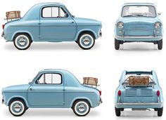 """""""The Vespa 400 was a rear-engined micro car, produced by ACMA (Ateliers de construction de motocycles et d'automobiles) in Fourchambault, France, from 1957 to 1961 to the designs of the Italian Piaggio sports cars cars sport cars cars vs lamborghini Luxury Sports Cars, Sport Cars, Rc Cars, Vespa 400, Microcar, Fiat 500, Foto Zoom, Carros Retro, Lambretta"""