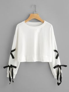 White Crop Eyelet Lace Up Sleeve Sweatshirt