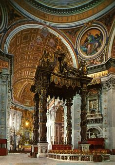 The Altar of Confession, (designed by Bernini), at the Vatican in Rome, Italy. This is the main altar. Rumor has it that St. Peter was executed on this spot and his bones are supposedly underneath it.