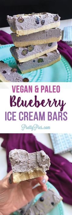 Dairy-free, gluten-free, (guilt-free!) ice cream bars made with simple real-food ingredients. No refined sugar & No ice cream maker required. Full of refreshing & sweet blueberry lemon flavor. Easy #vegan #paleo recipe from PrettyPies.com