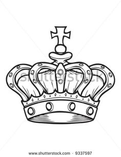 crown outline - stock vector