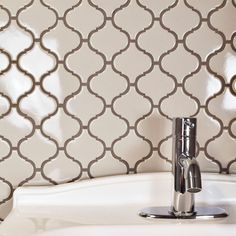 SomerTile 9.75x10.75-inch Victorian Morocco Glossy Grey Porcelain Mosaic Floor and Wall Tile (Case o (Victorian Morocco Blue (Pack of 10))