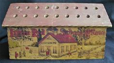 Old Pyrography Little Red School House Pencil Box Holder for Teachers Desk Americana....