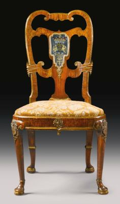 An important George II gilt-lead-mounted and verre églomisé-mounted parcel-gilt walnut side chair possibly by Thomas How Circa 1728