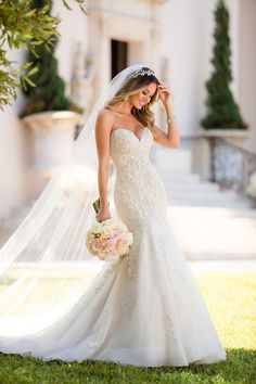Lace wedding dress idea - mermaid wedding dress idea with strapless, sweetheart neckline. Style 6654 from Stella York. See more wedding dress inspo on WeddingWire! #mermaidweddingdresses