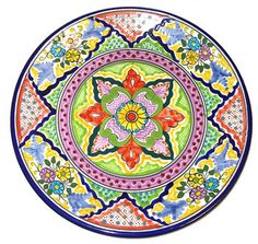 This Talavera Plate is beautifully decorated with a gorgeous combination of colors displaying floral and geometric patterns showcasing the excellent ...  sc 1 st  Pinterest & Colorful Talavera Plate | Darlin\u0027 Dishes | Pinterest | Pottery ...