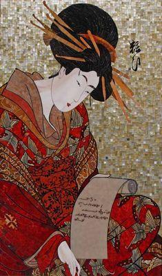 Мозаика Девушка читающая письмо