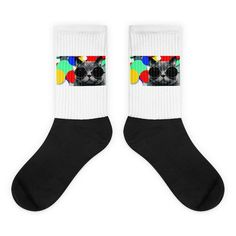 These socks will give you maximum comfort and style simultaneously! The top of the sock is printed, the bottom portion is solid black, and each sock is printed individually in the USA.  • Thick ribbing, which provides a secure fit • Cushioned for maximum comfort  • Bold, crisp colors that won't fade • 60% Nylon, 22% Cotton, 18% Spandex  • Cold wash with like colors and hang dry  #sock #hipsterr #cats