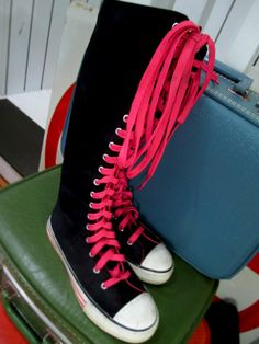 Black & Pink Punk Converse-style Knee high Lace-up Sneaker Boot