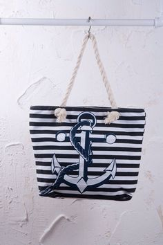 This beautiful anchor bag would be great for your towels and bikinis for the beach  @thesnookishop