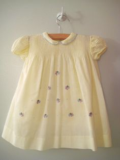 Vintage handmade, embroidered baby / toddler dress, 1940's.