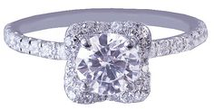 18k white gold round cut diamond engagement ring halo by KNRINC, $4699.00
