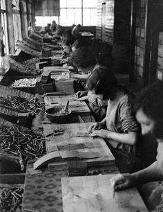 A production line in a fireworks factory at the Standards Works in Huddersfield, Yorkshire.  (Source: theconstantbuzz, via nouvelle-nouveau)