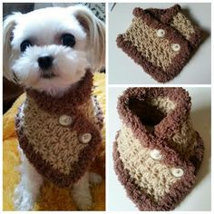 This scarf is great for any small dog. Its stretchy pattern.  This is suggested for the following toy breeds: Chihuahua, Yorkie, Poodle, Pomeranian, Mini Pin, all other small breeds  Hand crocheted with 100 % Acrylic yarn.  XS : 2 high x 8~9 around neck S/M : 3 high x 9~10 around neck L/XL : 3 high x 11~12 around neck   Hand wash cool and lay flat to dry.