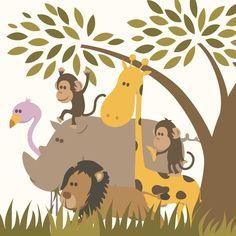 Ce beau tableau déco avec les animaux de la savane sera l'accessoire parfait pour finaliser la décoration de la chambre de votre enfant. En toile ou en plexi,il apportera une touche originaleet ravira à coup sûr vos loopiots. 3Formats disponibles : 30 x 30 cm, 50 x 50 cm et 100 x 100 cm 2 matières possibles : Toile ou Plexi