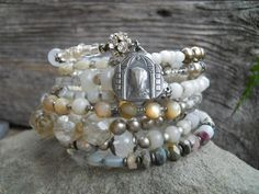 CUSTOM LISTING For S.   Vintage French Rosary Gemstone Religious Assemblage Bracelet by HappyMoonDesigns on Etsy